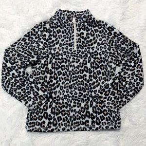 Children's place leopard fleece sweater size M 7/8
